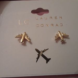Lauren Conrad gold Plane stud Earrings new